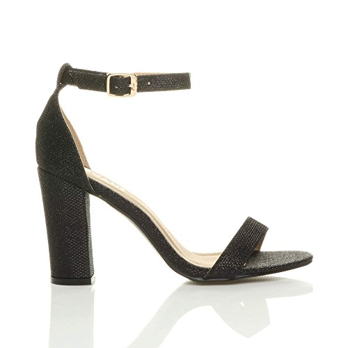 Size Sandals Strappy Women Glitter Heel High Block Ajvani Black Shimmer qnTXwHYY