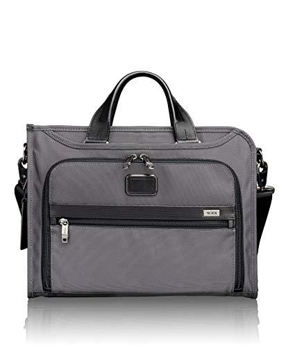 Tumi Alpha Slim Deluxe Portfolio Briefcase, Pewter, One Size