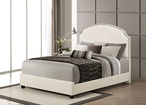ACME Kristina Cream Faux Leather Queen Bed (Cream Leather Headboard)