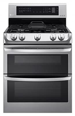 """LG LDG4315ST 30"""" Freestanding Double Oven Gas Range with 6.9 cu. ft. Capacity, 5 Burners, Griddle, Probake Convection, Glass Touch Controls and Door Lock, in Stainless Steel"""
