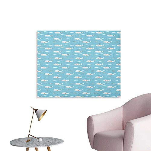 Anzhutwelve Whale Home Decor Wall Hand Drawn Aquatic Mammals Flying in Sky Fantastic Children Cartoon Poster Paper Sky Blue Pale Brown White W48 xL32 ()