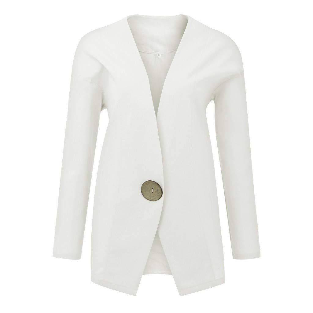 BITOPYTOPSIY Women Solid Big Buttons Blazers Long Sleeve Cotton and Linen Cardigan Loose Suit Coat