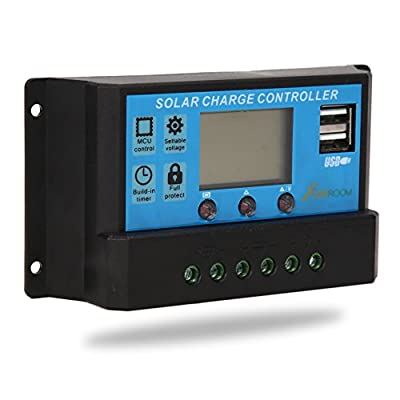 CoZroom LCD Solar Charger Controller/Regulator with Intelligent Dual USB Port, 20A 12V/24V