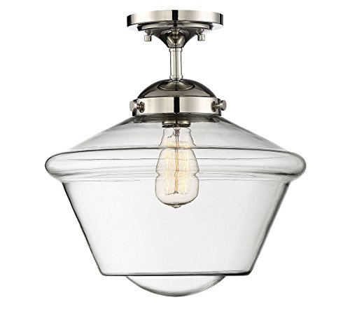 (Trade Winds Lighting TW60051PN 1-Light Transitional Schoolhouse Semi-Flush Mount Ceiling Light with Clear Glass, 100 Watts, in Polished Nickel)