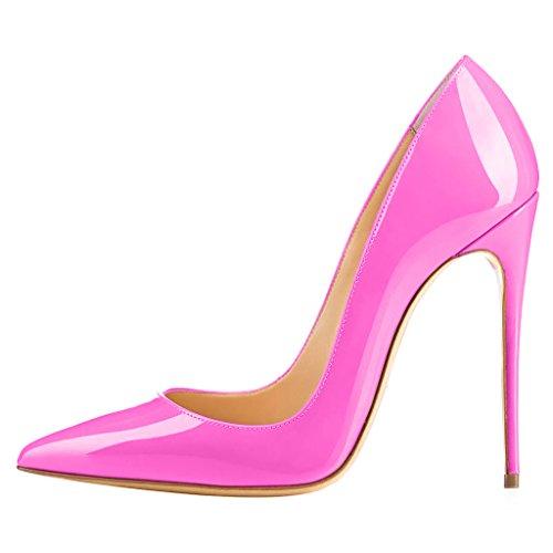 Cahen rosa Tacco Calaier su A Scarpe Calzature col Scivolare Tacco Donna 12CM Spillo B Cxx7R15Aqn