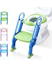 Potty Training Toilet Seat with Step Stool Ladder for Kids Children Baby Toddler Toilet Training Seat Chair with Soft Cushion Sturdy and Non-Slip Wide Steps for Boys Girls