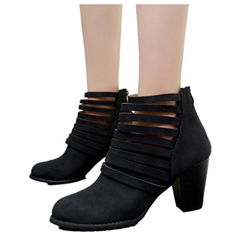 Cut Straps Booties Women Autumn Shoes Zipper Ankle Round Toe Rome Short Boots Chunky Heel Boots (US:6.5, Black)