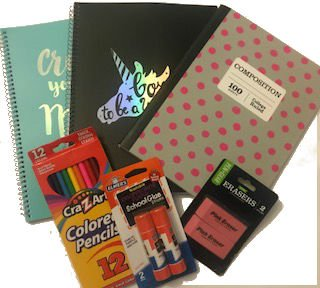 6 Piece - Pen+Gear Composition College Ruled gray with pink polka dots, 2 Notebooks College Ruled black and blue, 1 Elmer's Glue Stick 2 pack, 1 colored pencils 12 pack, 1 pink erasers 2 pack by Pen+Gear, Cra-Z-Art, Elmer's,
