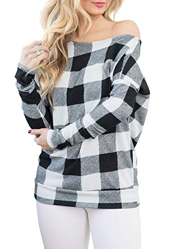 Women Casual Sexy Long Sleeve Blouse Off The Shoulder Plaid Slouchy Pullover Tops White Plaid 2XL - Christmas Womens Cut T-shirt