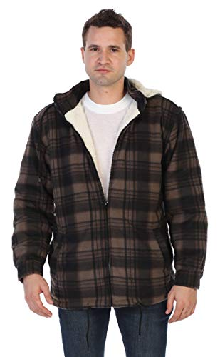 Gioberti Mens Sherpa Lined Flannel Jacket with Removable Hood, Brown/Black, L ()