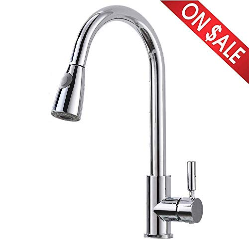 Comllen Best Modern Chrome Single Handle Pull Down Sprayer Kitchen Faucet, Pull Out Kitchen Faucets ()