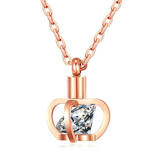 [Crown Cubic Zirconia Necklace Girls Rose Gold Plated Stainless Steel Adult Bar Pendant Chain 420 mm] (Old Navy Halloween Costumes Elephant)