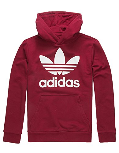 adidas Originals Kids Unisex Trefoil Hoodie (Little Kids/Big Kids) Collegiate Burgundy/White ()