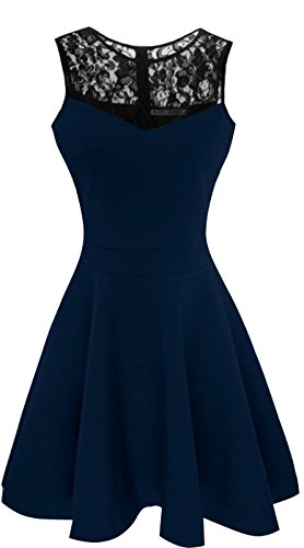 Line Women (Sylvestidoso Women's A-Line Sleeveless Pleated Little Dark Navy Blue Cocktail Party Dress with Black Floral Lace (M, Navy))