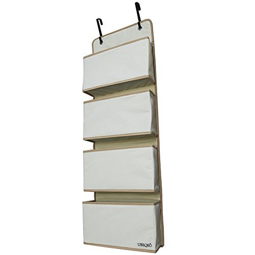 UBEQEO Hanging Pocket Organizer Over Door, Nursery Shelves Metal Hooks, Sturdy Fabric Wall L4 Storage Bag, Beige