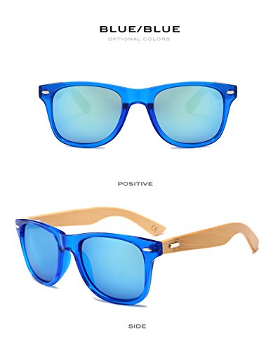Pynxn bambou Lunettes Femmes Lunettes Sunglass Lunettes Real Oculos de Vintage soleil de Brown Hommes th¨¦ UV400 2140 Bleu carr¨¦ Bois Bleu Miroir soleil rqwg5rC7x