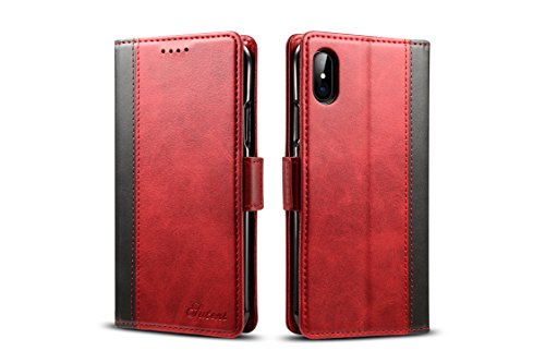 iPhone X/10 Case Leather,TACOO Soft Double Color Block Kickstand Slim Fit Card Money Slots Phone Back Wallet Cover Shell for Apple iPhone10/X 5.7 inch 2017