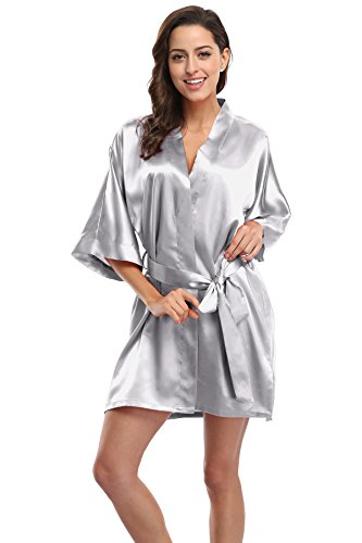 KimonoDeals Women's Soft Elegant Solid Color Kimono Robe-Silver Grey, Short L