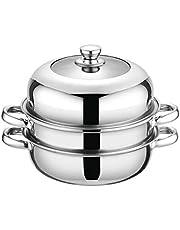 MXJDZJ Stainless Steel Steamer Pot Soup Pot Steamer Basket Double Boiler 3 Layers Pot Steamer Induction Cooker Metal Steamer Pan (Size : 27.8 * 16cm)