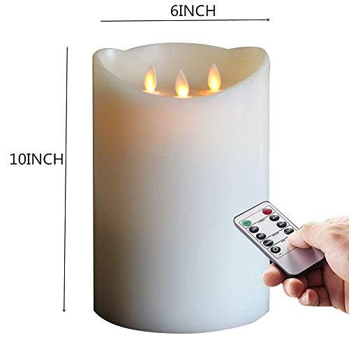 6x10 Inch 3wicks Flameless Pillar Wax Candle , Realistic and Bright Flickering Bulb Battery Operated LED Candle for HOME decor