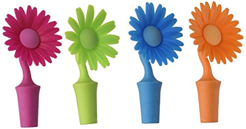 - Southern Homewares Flower Bottle Stoppers - 4 Pack  - Made of Silicone