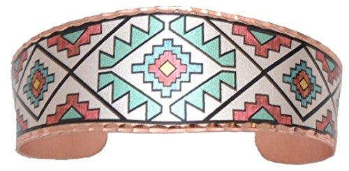 Copper Cuff Unisex Bracelet Ancient Pattern Southwest Native Hopi Design Origin. Native American Design