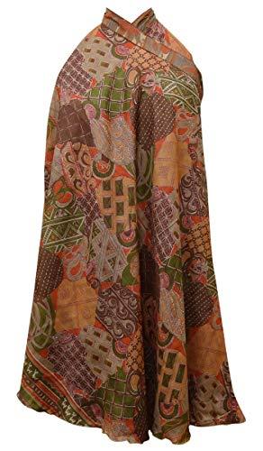 Indianbeautifulart Les Femmes Check Imprimer Pure Soie Vintage Saree rversible Rouge Wrap Summer Beach Dress Multicolore