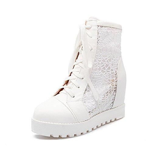 Amoonyfashion Dames Veterschoenen Ronde Gesloten Neus Hoge Hakken Blend Materialen Lage Laarzen Wit