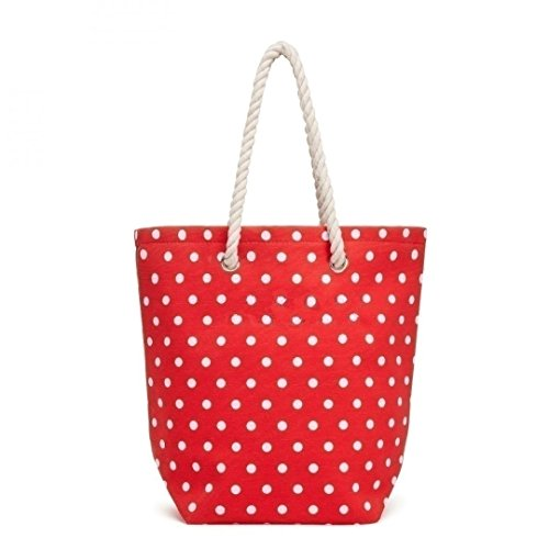 Bag Dot Polka Tote Handle Rope Red with fgvgq1