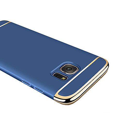 (Galaxy S7 Edge Case, Ranyi [3 in 1 Hybrid] [Anti-slip] [Metal Texture] Luxury Electroplated Painting Bumper + Matte Hard Back Cover Case for Samsung Galaxy S7 Edge 5.5 inch (2016), blue)