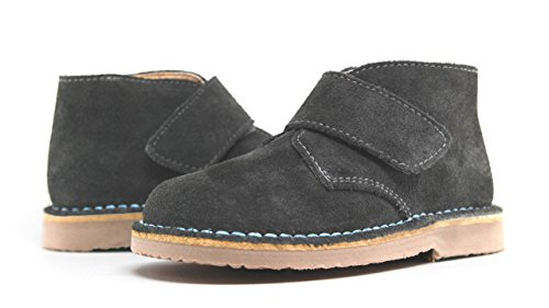 POM Shoes Madrid Mini Gray & Blue Velcro Boots with Leather Lining and Blue Accents 27 EU (8 M US Toddler) by POM Shoes (Image #1)