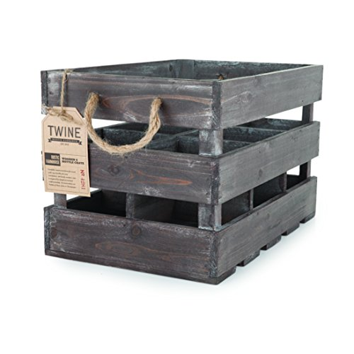 Rustic Farmhouse Wooden 6 Bottle Crate by Twine – Wooden Wine Bottle Holder (Gift Crates Boxes)