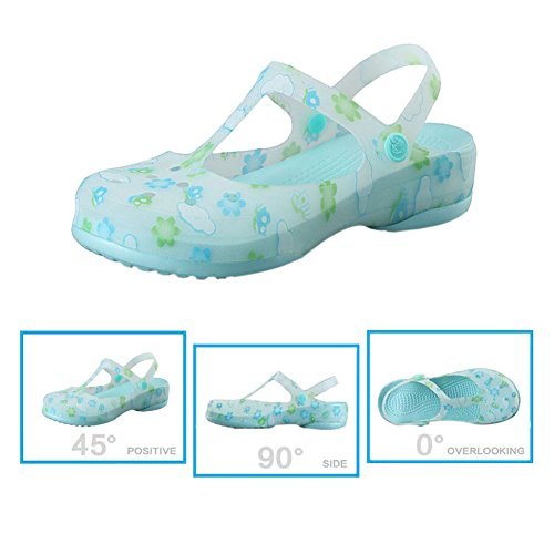 Shoes Shoes Summer Jelly Womens Rainboots slip Printed Breathable Hole Beach Non Soft Shoes Sandals Boots Green Ladies Haodasi Rain fHTqdw7T