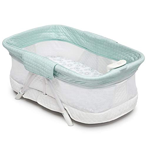 Simmons Kids Ultra-Compact Travel Bassinet, Aqua Geo (Simmons Kid Bassinet)