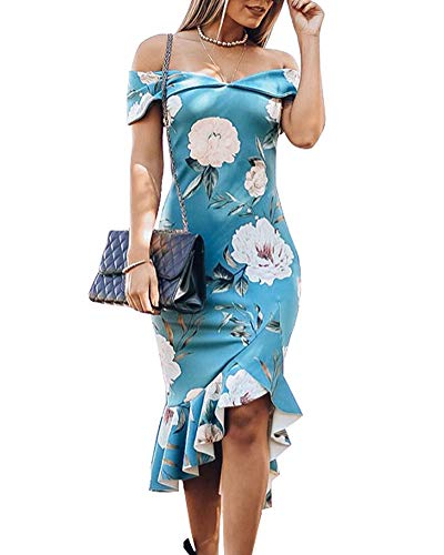 Uni Clau High Low Dresses for Women Elegant - Strapless Trumpet Formal Party Dress Blue M (Strapless Trumpet)