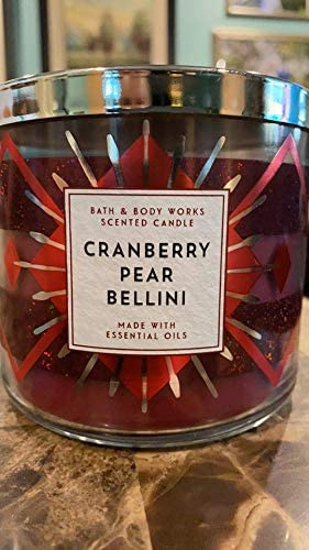 Bath /& Body Works CRANBERRY PEAR BELLINI CANDLE Large Scented 3 Wick 14.5 oz NEW