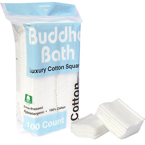 Buddha Bath Premium 100% All Natural Facial Cotton Square Pad - Makeup Face Cleansing Pad -Hypoallergenic - No fillers - Soft Edge - 3 Pack of 100 Squares - 300 - Best Round Specs Face For