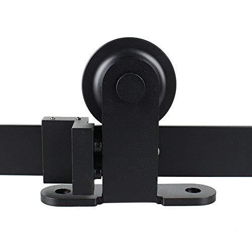 Porta scorrevole Door Hardware Kit Nero per porta singola hardware Track Kit, classico, in acciaio nero (tondo 183) GOTOTOP