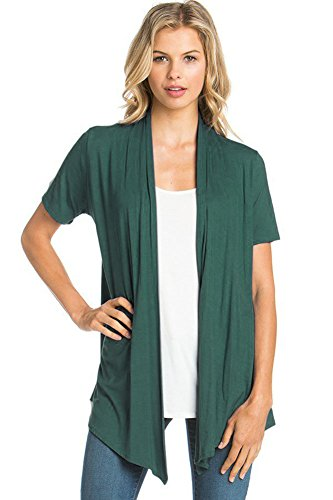 12 Ami Basic Solid Short Sleeve Open Front Cardigan Dark Green 2X ()