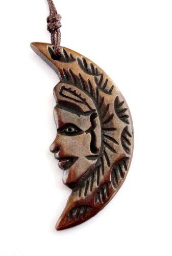 Bone Face Pendant - Ox Bone Carved Moon Face Pendant Necklace