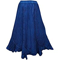 Mogul Interior Women's Skirt Azure Blue Stonewashed Lace Work Gypsy Embriodered Long Skirts L