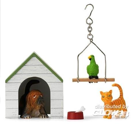 Amazon.es: Lundby perro, caseta, comida con huesos, gato y un loro en una pájaro Balancín.: Juguetes y juegos