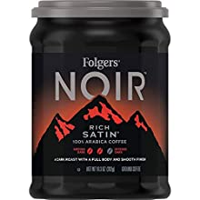 Folgers Noir Rich Satin Dark Roast Ground Coffee, 10.3 Ounces (Pack of 6)