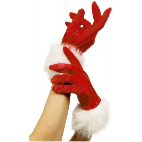 Woman Santa Costumes (Smiffy's Women's Short Santa Gloves, Red, One Size, 29253)