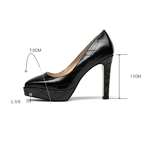 Dress Women's Black Heeled Heels High Pumps Wedding Shoes For Court Platform Ladies Winered With Party Shoes Daily Black Shoes rUCwB6rq