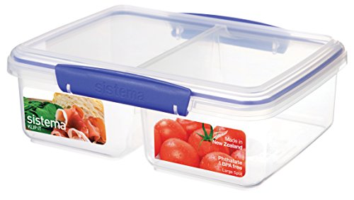 Sistema Klip It Collection Rectangle Large Split Food Storage Container, 65 Ounce/ 8 Cup