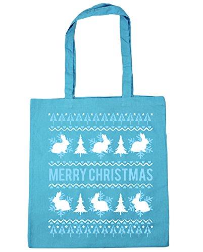 HippoWarehouse conejo feliz Navidad Tote Compras Bolsa de playa 42cm x38cm, 10litros azul (Surf Blue)