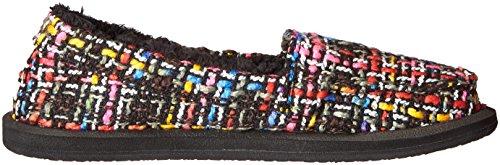 Sanuk Womens Shor-knitty Flat Black / Multi Tweed