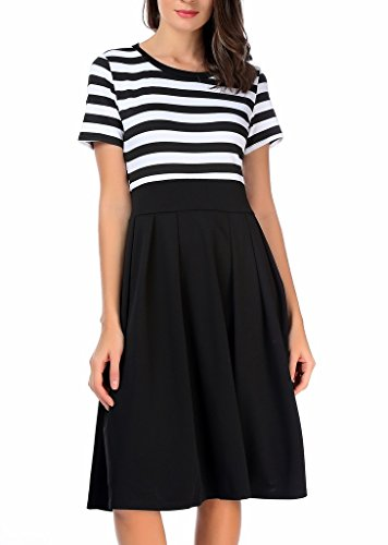 1 Casual Long black 4 Scoop Stripe Short Neck AAMILIFE Sleeve Modest Swing Women's 3 Dresses xO4qwxAa