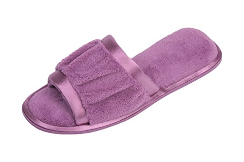 BEVERLY ROCK Womens Ruffled Terry Open Toe Slide House Slipper With Satin Trimmings